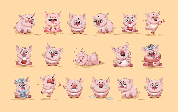 Définir la collection de kit illustrations d'illustration isolé emoji personnage dessin animé cochon autocollants émoticônes avec différentes émotions