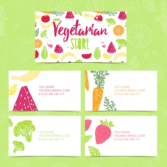 Définir la collection modèle de conception de carte de visite magasin végétarien d'identité corporative carte de visite avec décor fruits et légumes