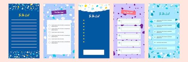 Définir une collection de modèles de liste de tâches vierges colorées pour l'histoire des médias sociaux avec un motif en terrazzo