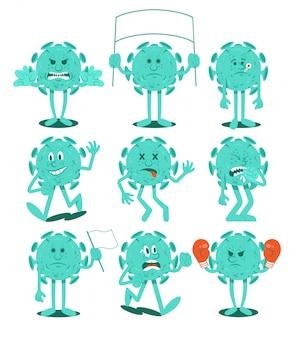 Définir la collection de personnages de dessins animés de bactéries infectieuses coronavirus dans le style emoji. micro-organisme viral. situation de quarantaine pandémie mondiale du virus covid-19. style design plat illustration.