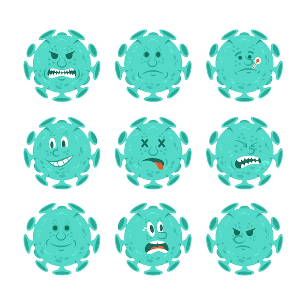 Définir la collection de personnages de dessins animés de bactéries infectieuses coronavirus dans le style emoji.