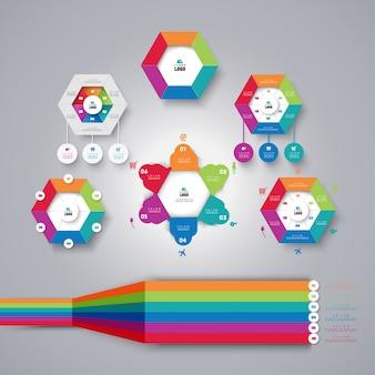 Définir le concept commercial d'infographie avec 6 options.
