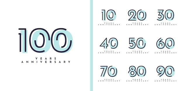 Définir la conception d'anniversaire de 10 à 100 ans