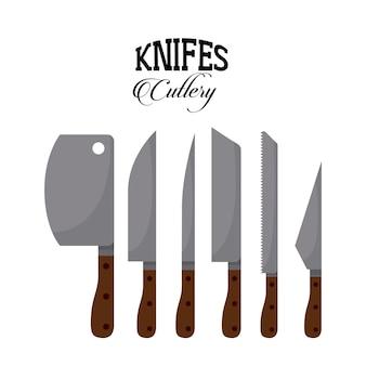 Définir la conception de couteaux, illustration vectorielle illustration eps10
