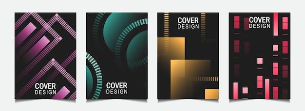 Définir la conception de la couverture abstraite avec une ligne colorée sur fond sombre