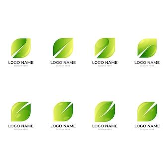 Définir la conception du logo de la feuille avec un style de couleur verte 3d