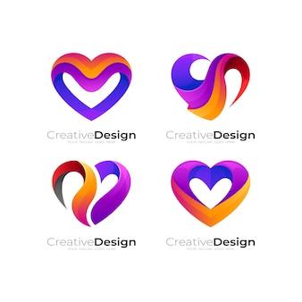 Définir la conception de logo d'amour, modèle d'icône colorée