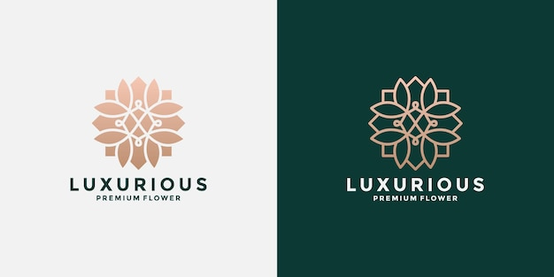 Définir la conception de logo d'art plat et ligne de lotus fleur minimaliste