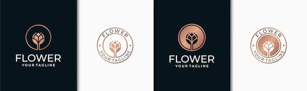 Définir la conception de logo de fleur élégante
