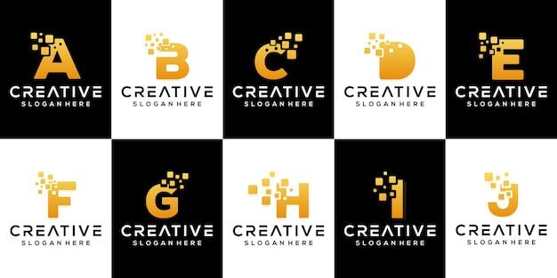 Définir la conception de logo de lettre d'or moderne