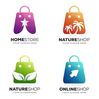 Définir la conception de logo de magasin coloré