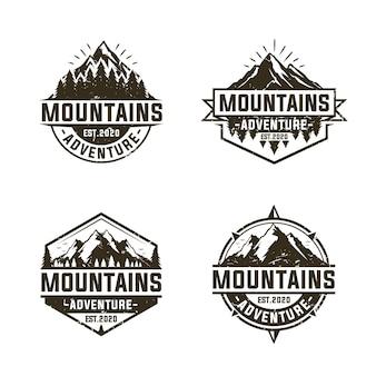Définir la conception de logo de montagne en plein air