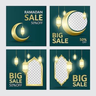 Définir la conception de modèle de bannière de vente ramadan avec des ornements de fond islamique
