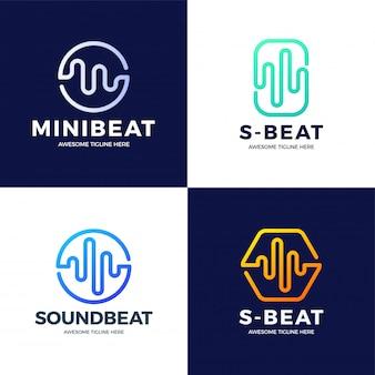 Définir la conception de modèle de logo audio sound wave. logotype de technologie de musique abstraite de ligne. emblème de l'élément numérique, forme d'onde du signal graphique, courbe, volume et égaliseur. illustration.