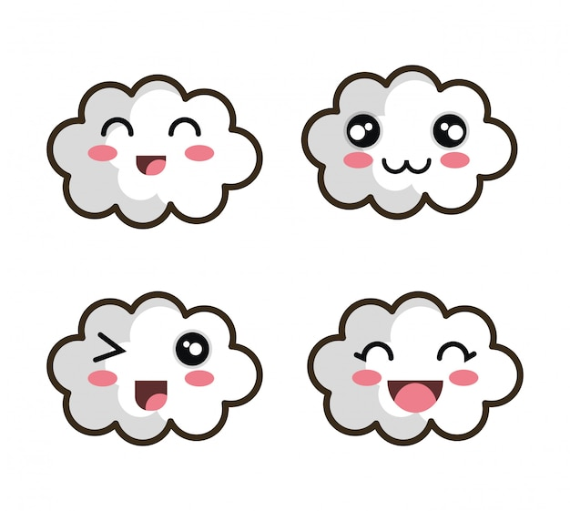 Définir la conception nuage visage dessin animé