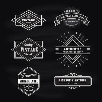 Définir la conception rétro de tableau noir étiquette vintage
