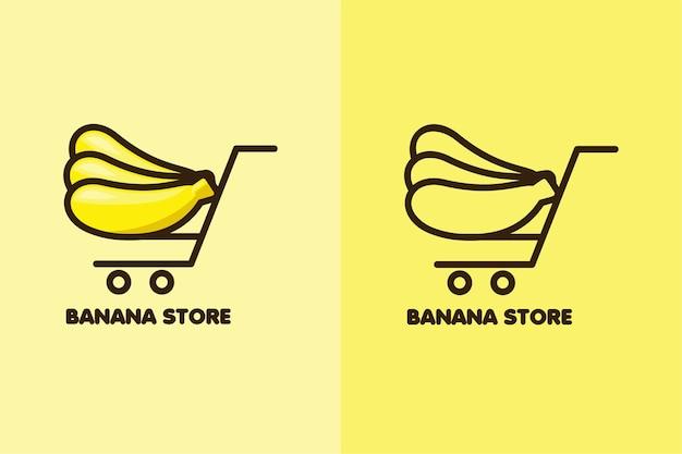 Définir la couleur et le dessin au trait du magasin de banane logo