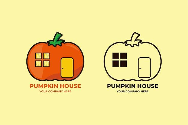 Définir la couleur et le dessin au trait logo maison citrouille