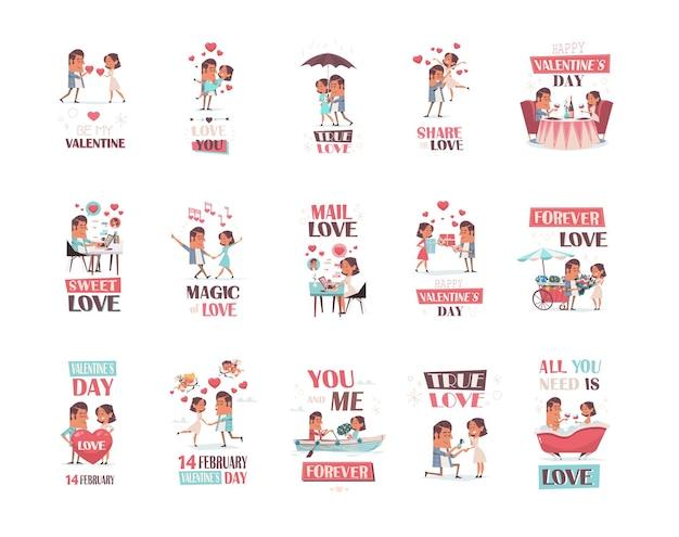 Définir le couple amoureux petite amie et petit ami s'amuser saint valentin célébration concept cartes de voeux invitations collection d'affiches illustration horizontale pleine longueur