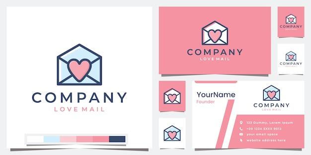 Définir le courrier d'amour de l'entreprise de logo avec l'inspiration de conception de logo de version couleur