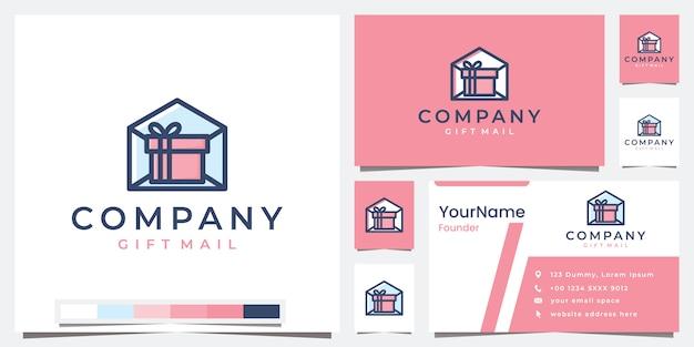 Définir le courrier cadeau de l'entreprise logo avec inspiration de conception de logo de version couleur