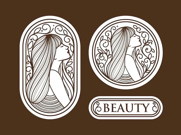 Définir la création de logo de femme de beauté