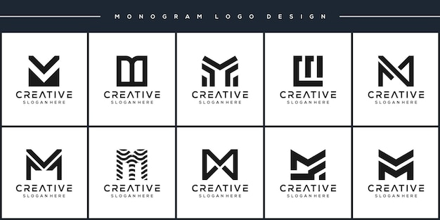 Définir la création de logo de lettre m de monogramme de paquet