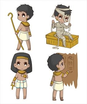 Définir cute boy en costume égyptien., personnage de dessin animé.