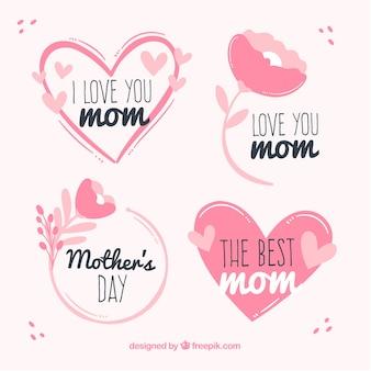 Définir des étiquettes de fête des mères avec des fleurs