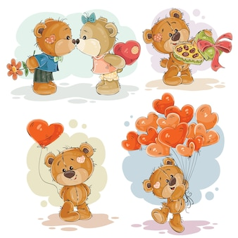 Définir des illustrations illustrées d'illustrations vectorielles d'ours en peluche amoureux