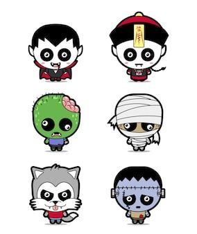 Définir le dessin animé mignon personnage halloween