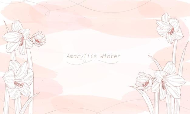 Définir des dessins de fleurs. ligne d'hiver amaryllis dessinée sur un fond aquarelle