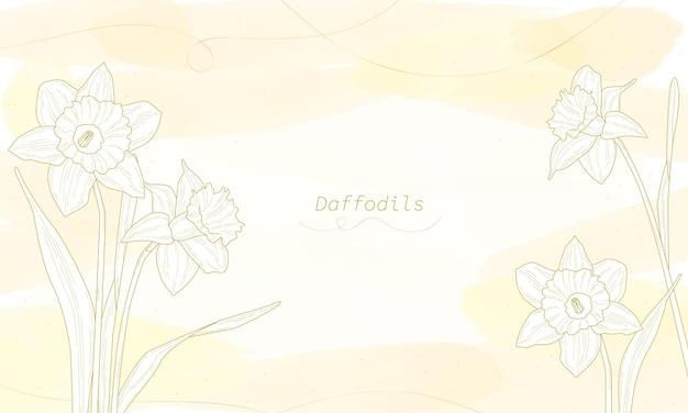 Définir des dessins de fleurs. ligne de jonquilles dessinée sur un fond aquarelle