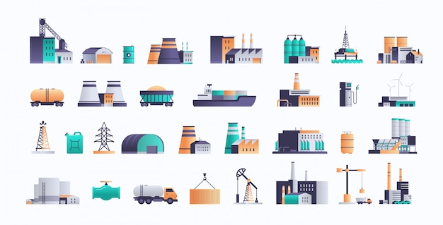 Définir différentes icônes d'installations de l'industrie pétrolière de la production d'extraction