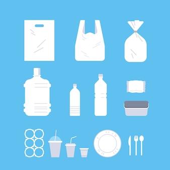 Définir différents objets jetables en plastique collection pollution problème de recyclage écologie sauver le concept de la terre à plat