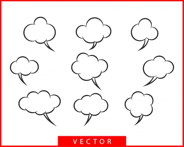 Définir le discours des bulles de conversation. éléments de conception d'icône bulle vide vide. discuter sur le modèle de symbole de ligne. silhouette autocollants collection dialogue ballon.