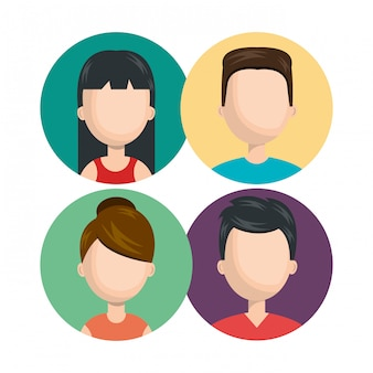 Définir diverses personnes jeunes isolés