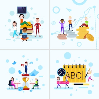 Définir la diversité garçon fille caractère concepts mâle femelle modèle pour le travail de conception et d'animation sur fond blanc pleine longueur plat