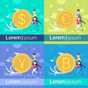 Définir la diversité en poussant la pièce de monnaie yuan dollar euro bitcoin homme femme modèle pour le travail de conception et d'animation croissance richesse pleine longueur espace de copie plat