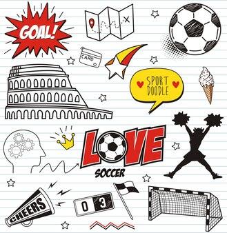 Définir des doodles de football sur fond de papier