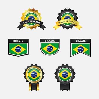 Définir le drapeau du brésil et made in brazil emblème insignes d'étiquette