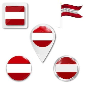 Définir le drapeau national des icônes de l'autriche