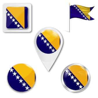 Définir le drapeau national des icônes de bosnie-herzégovine