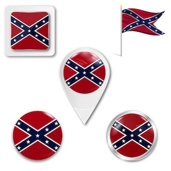 Définir le drapeau national des icônes de la confédération