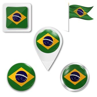 Définir le drapeau national des icônes du brésil
