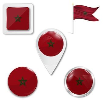 Définir le drapeau national des icônes du maroc