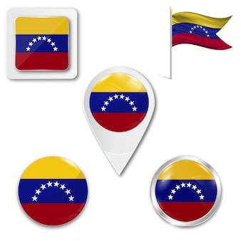 Définir le drapeau national des icônes du venezuela