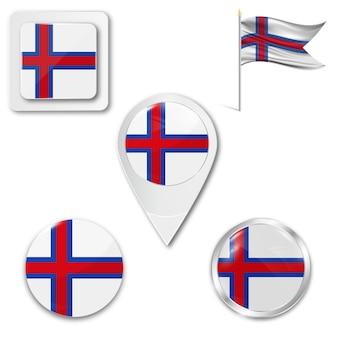 Définir le drapeau national des icônes de l'île de féroé