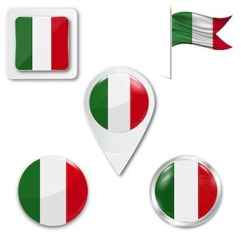 Définir le drapeau national des icônes de l'italie