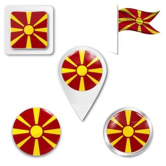 Définir le drapeau national des icônes de la macédoine